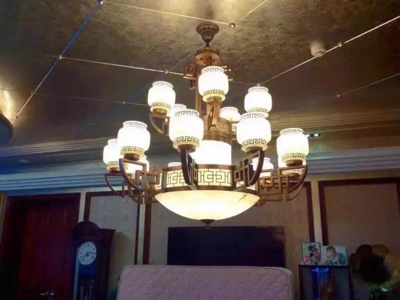 上海别墅中式全铜云石灯案例