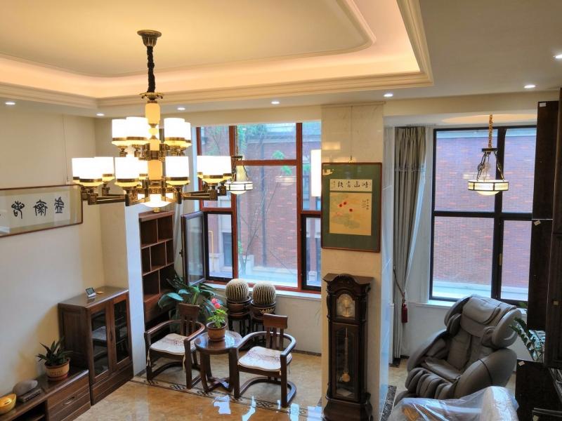吉林客户豪宅中式风格全铜云石灯效果