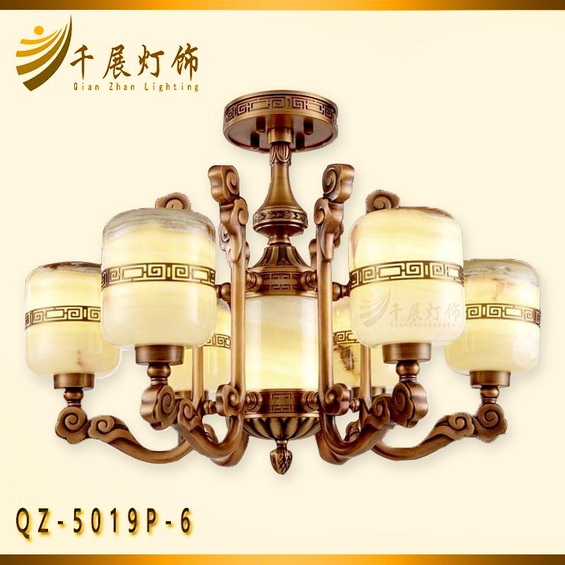 中式全铜玉石灯