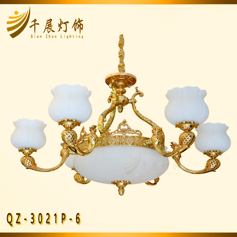 云石玻璃铜灯