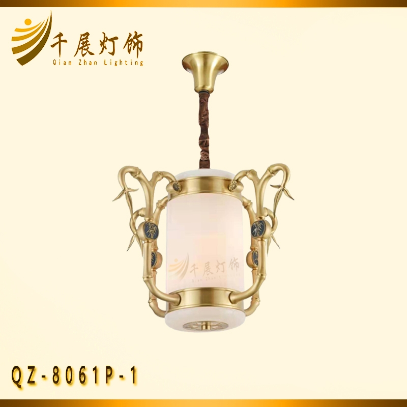 天津竹节铜灯